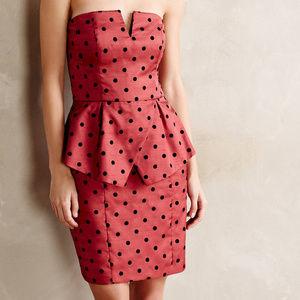 Ali Ro Red Polka-Dot Peplum Dress